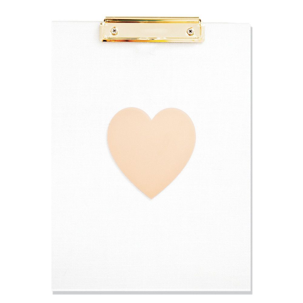 "The perfect accessory to keep your desk organized. Designed with simple, straight lines- this clear acrylic clipboard is both functional and stylish. - Measures 9"" x 12"" - Gold heart with a gold clip"