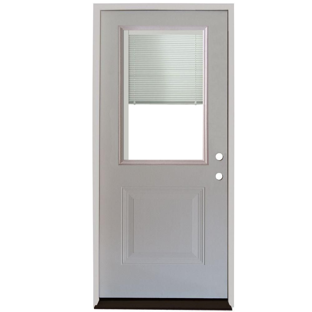 Steves Sons 32 In X 80 In 1 Panel 1 2 Lite Mini Blind Primed White Steel Prehung Front Door S20h Wmb 32 P4ri The Home Depot Steel Entry Doors Mini Blinds Exterior Doors With Glass