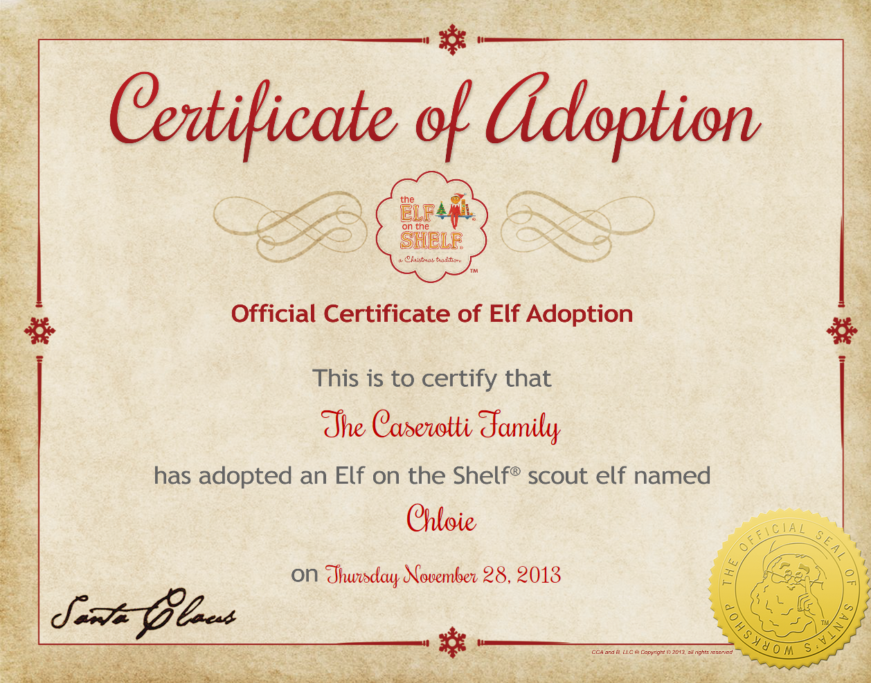Heres The Printable Certificate Of Adoption For Elf On The Shelf