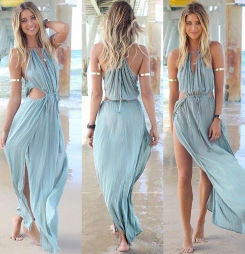 45f25b9a4d06c Celeb Sexy Fashion Halter Boho Summer Beach Maxi Side Split Chiffon ...