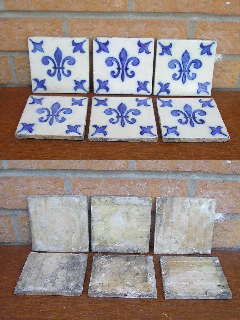 6 Carrelages Anciens En Ceramique De Desvres Deco Fleur De Lys Bleue
