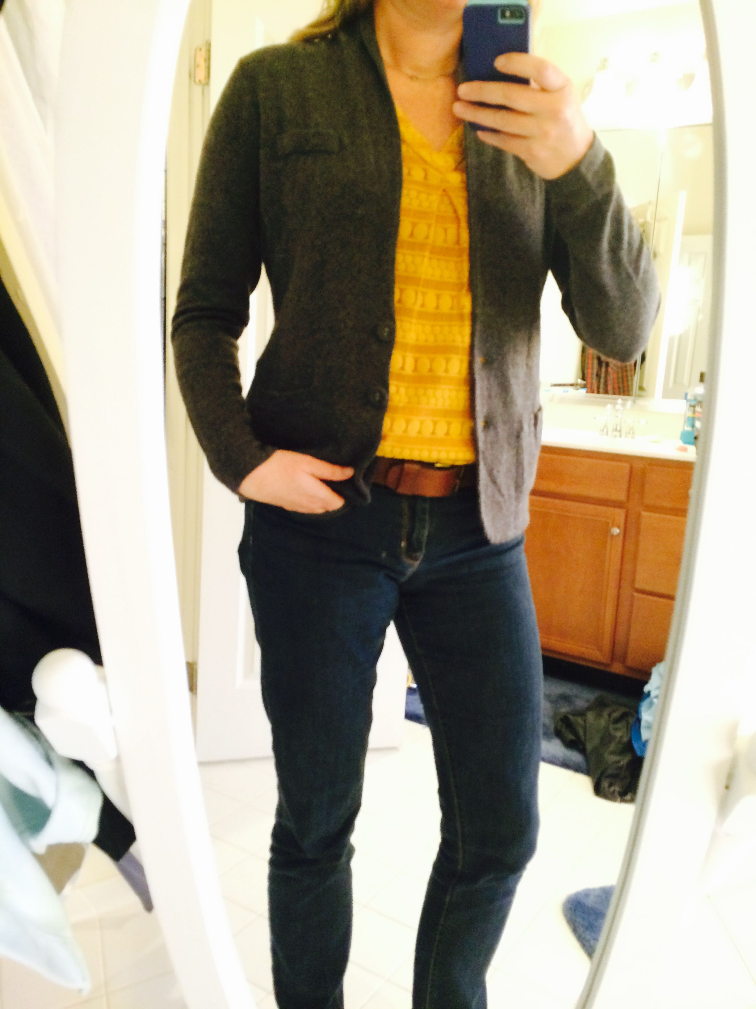 Fix #11 - Pablo V-Neck Blouse with Hollis Wook Knit Blazer.  Wasn't sure at first because the blazer reminded me of you grandfathers sweater, but I LOVE this combo!