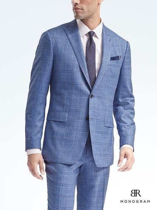 6ca711b9fc7 Banana Republic Mens Standard Monogram Blue Plaid Wool Blend Suit Jacket