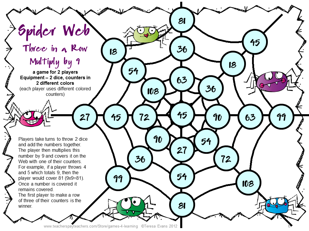 Spider Math Games For Multiplication And Division
