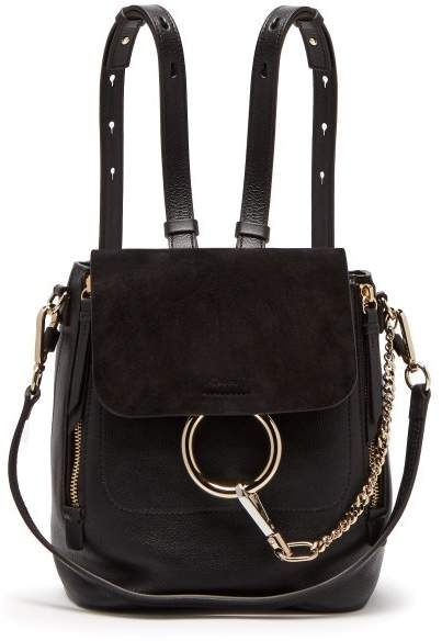be2d24ee Chloé Faye Suede And Leather Small Backpack - Womens - Black ...