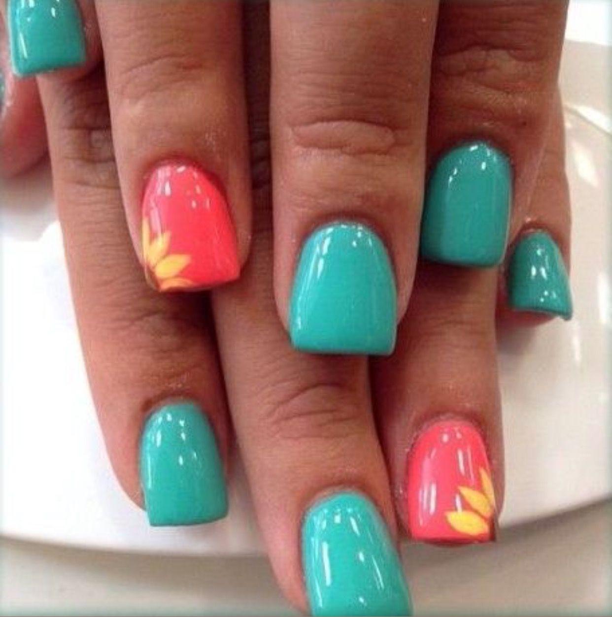 26 Spring Acrylic Nail Designs Ideas: Cute Summer Nail Ideas// Teal & Coral Nails// Sunflower