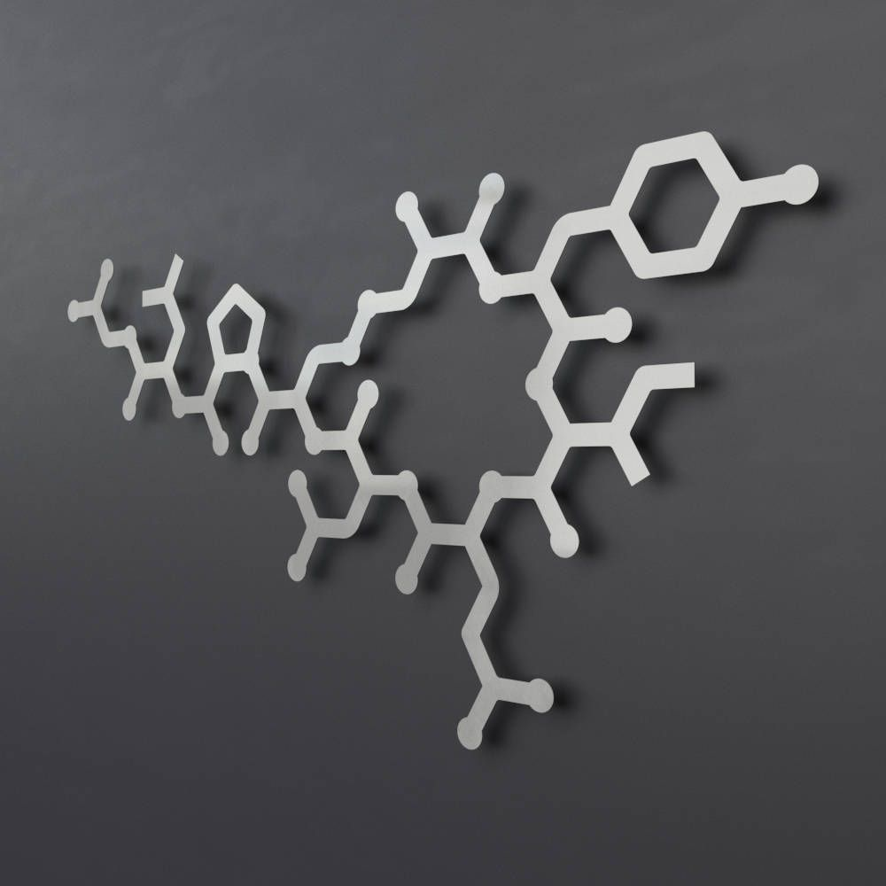 Oxytocin Molecule Large Metal Wall Art, Science Wall Decor, Modern Metal  Wall Sculpture,