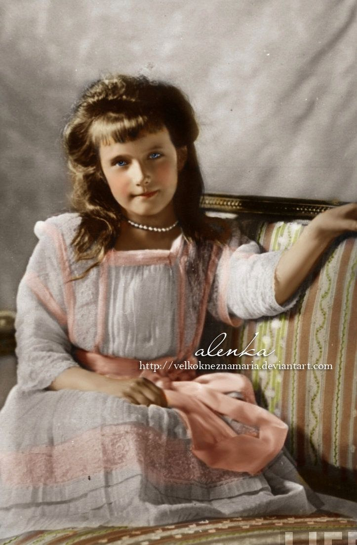 Grand Duchess Anastasia Nikolaevna Romanova of Russia (1901-1918), the last daughter of the Tsar Nicholas II, posing for a photo in 1910.