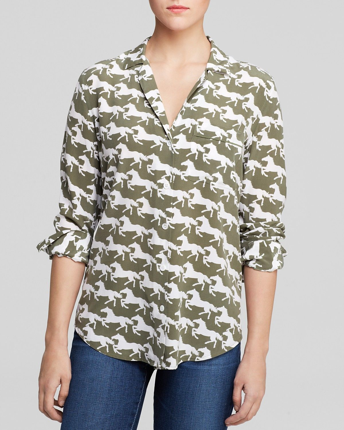 4f70f0cfe0a93 TOP  printed shirt   notched collar Equipment Blouse - Keira Arabian Trail  Print
