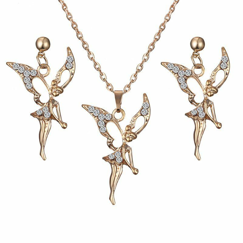 Fashion Gold Plated Crystal Fairy Angel Earrings Necklace