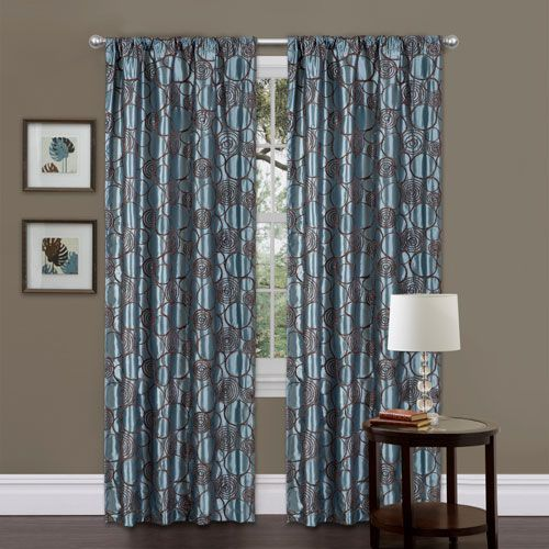 Circle Charm Curtain Panel Blue And Brown 42 Inch By 84 Inch