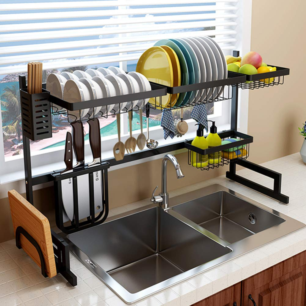 Over The Sink Dish Drying Rack And Storage Area Kitchen Rack
