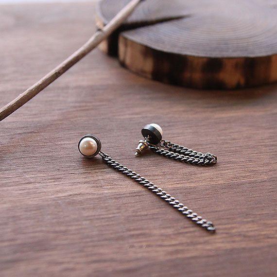 Freshwater Pearl Earrings Long Sterling Silver Chain by 141ATELIER