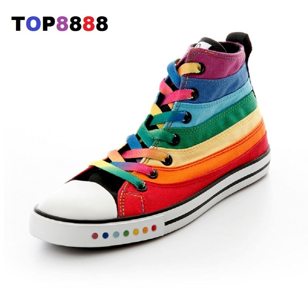 eur size Picture - More Detailed Picture about Dropshipping Hot Flats Spring Autumn Colorful High Canvas Shoes Female Shoes Casual Flat Woman Shoes Rainbow Lady Footwear C208 Picture in   from Top8888-Making A Difference Store. Aliexpress.com | Alibaba Group