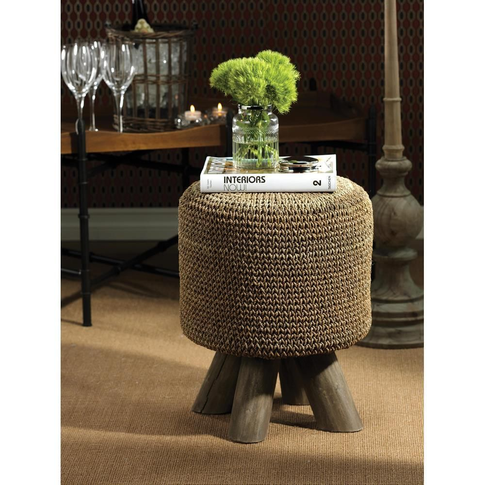 225 00 Zodax 17 75 Inch High Raku Woven Foot Stool Natural Colors And A Textured Weave Pattern Give The Raku Woven Foot Footstool Bliss Home And Design Stool