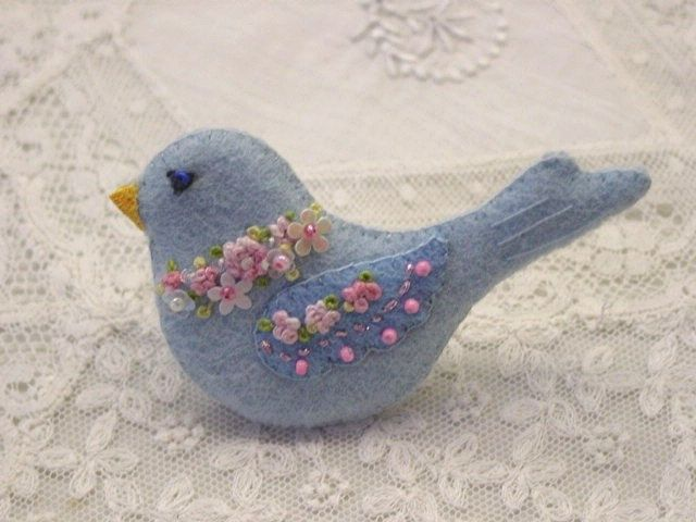 Itty Bitty felt bluebird with flowers by GlosterQueen on Etsy