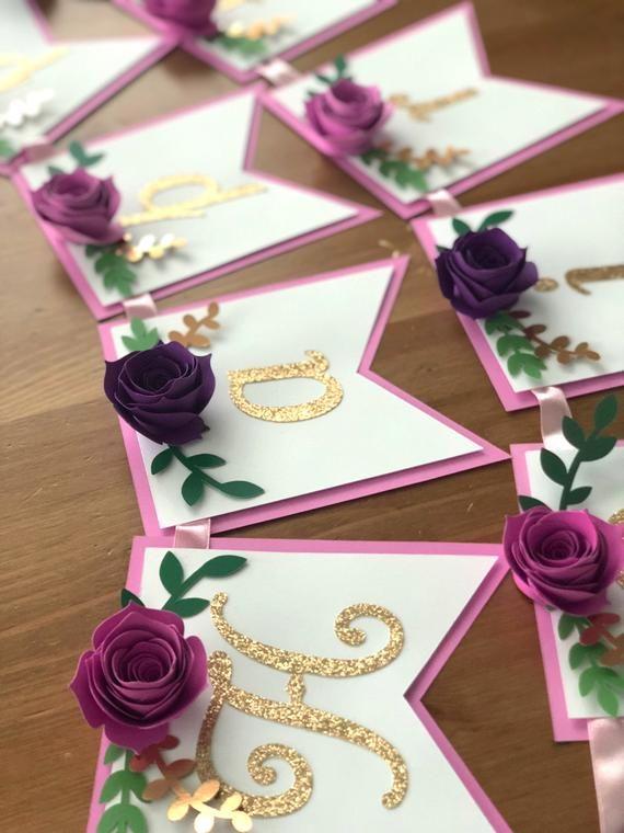 Floral Happy Birthday Banner – Floral Banner – Boho Flower Banner – Tea Party Banner – Roses Banner- 1st Birthday Banner- Floral Baby Shower