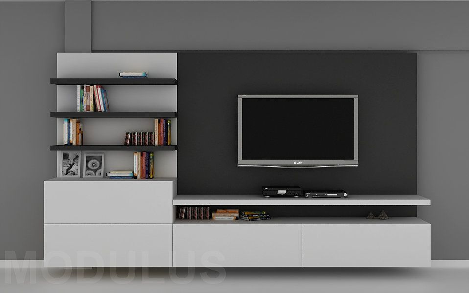 Modulares para living tv lcd led wall unit muebles for Muebles modulares modernos para tv