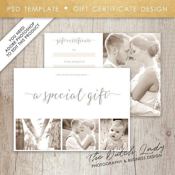 Photography Gift Certificate Template  Design   Instant