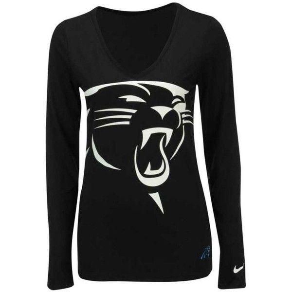 2505ab6e3 Nike Women s Long-Sleeve Carolina Panthers Logo Wrap T-Shirt ( 40) ❤ liked  on Polyvore featuring tops