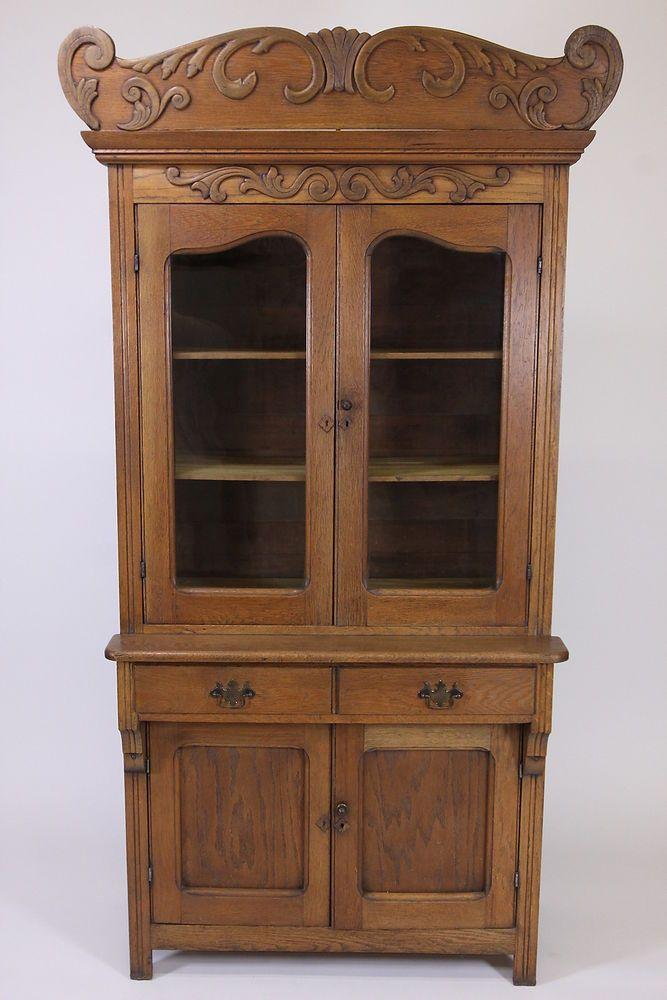 Antique Oak Step Back Cupboard China Cabinet With Decorative Crown  Furniture #RusticPrimitive #unknown - Antique Oak Step Back Cupboard China Cabinet With Decorative Crown