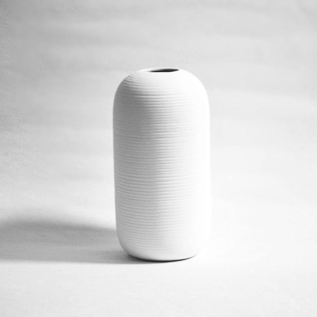White Striated Ceramic Vase