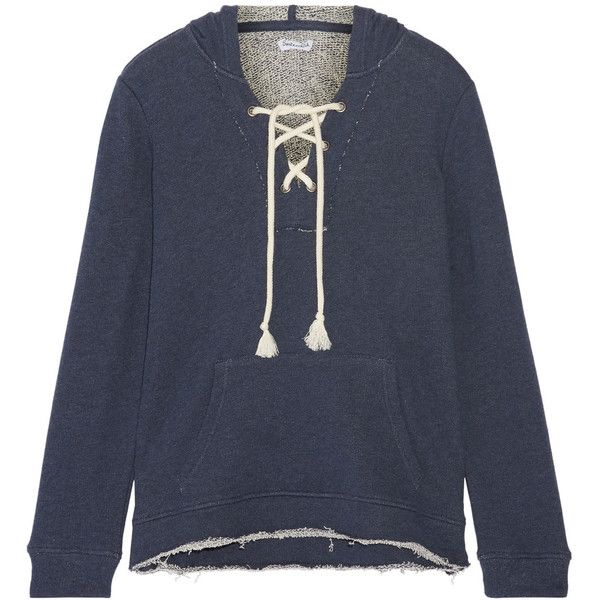Splendid Lace-up French cotton-terry hooded top ($165) ❤ liked on Polyvore featuring tops, hoodies, storm blue, lace up top, ripped tops, laced up top, blue top and laced tops