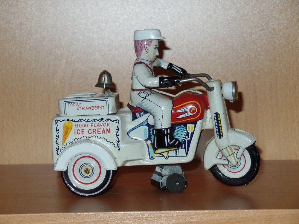 Vintage Tin KO Japan Ice Cream Motorcycle Toy #KO