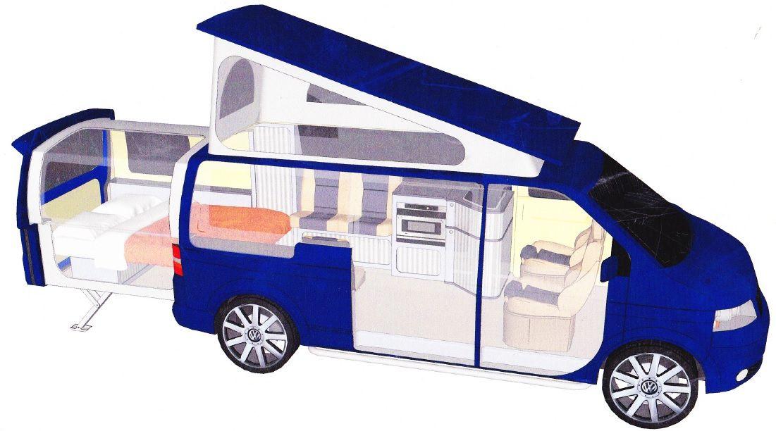 Danbury T5 Doubleback Conversion Floor Plan Campervans