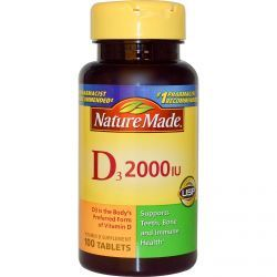 Nature Made, D3, Vitamin D Supplement, 2000 Iu, 100 Tablets, Diet Suplements 蛇