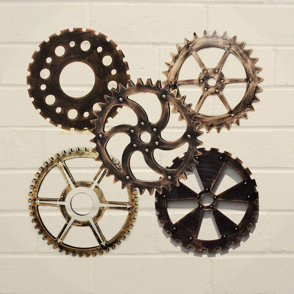 Industrial Antique Vintage Gear Wall Art Wooden Home Shop Bar Cafe Decoration 1x Steampunk 1950s Decor Cafe Wall Bars For Home