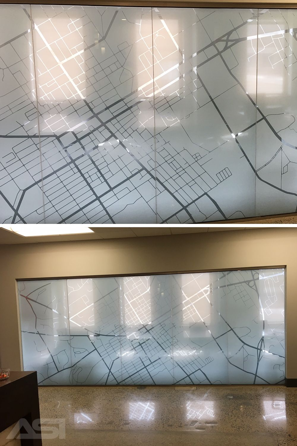 Printed Sonera Art Poly Clear Window Film With Map Of Location