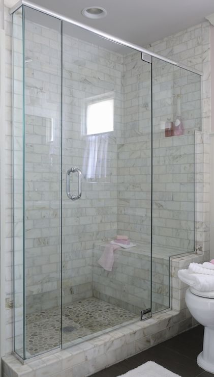 Large Walk In Shower With Marble Subway Tiled Surround