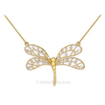 Fine 14k gold filled necklace with delicate dragonfly pendant gold plated DRAGONFLY