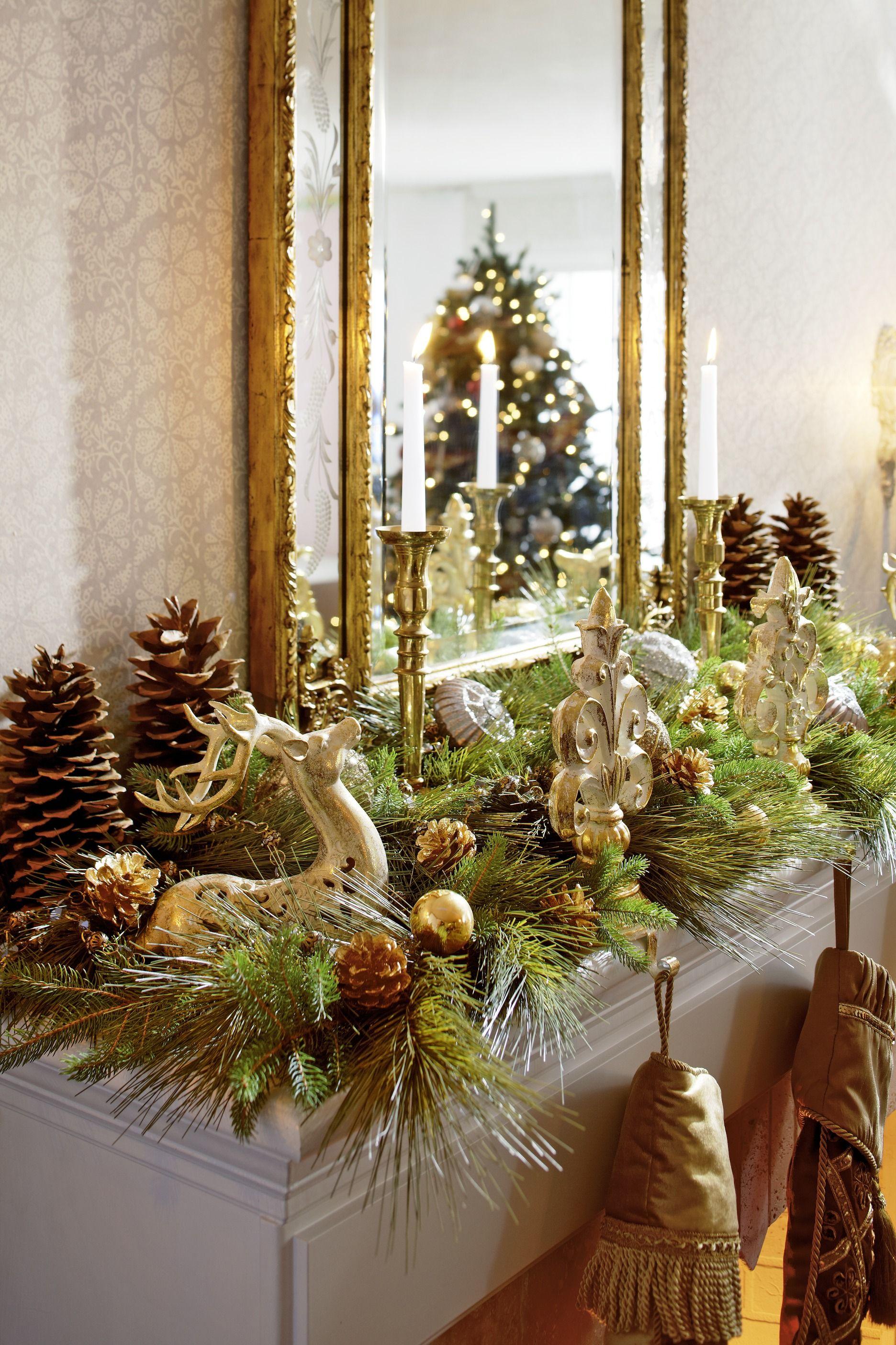 Christmas mantel decor pinterest - Decorating Holiday Mantels Traditional Home