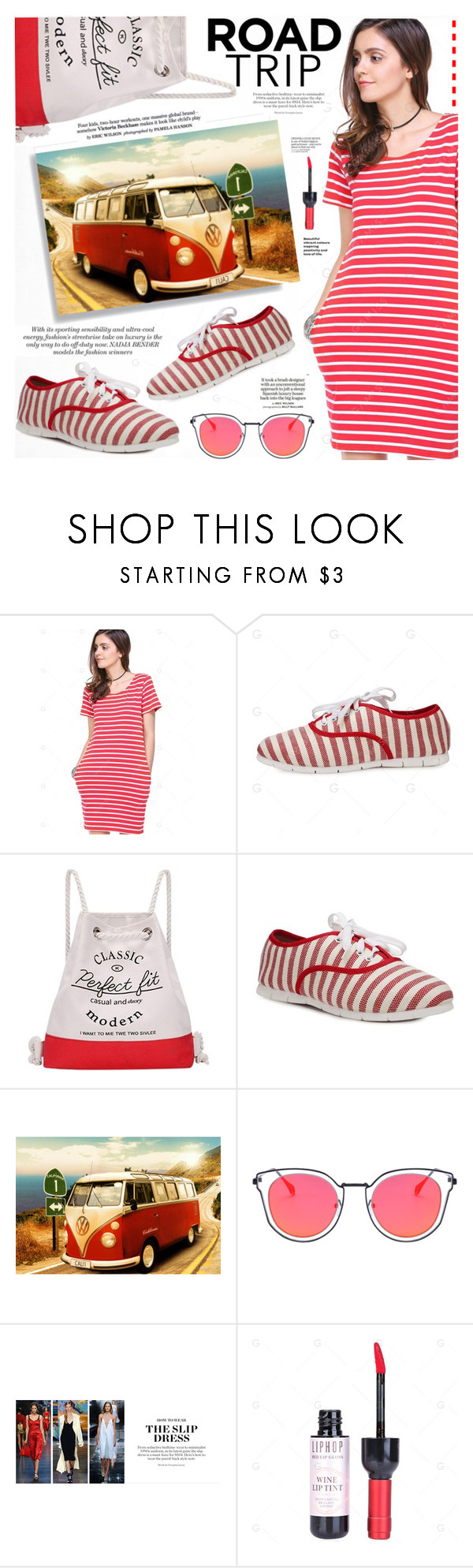 """""""Rev It Up: Road Trip Style"""" by katjuncica ❤ liked on Polyvore featuring Loewe, Summer, stripes, redandwhite, roadtrip and tshirtdress"""