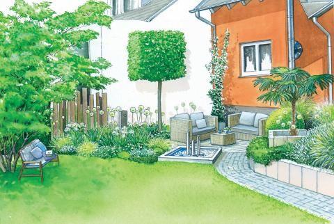 Sitzplätze im Garten gestalten - reihenhausgarten vorher nachher
