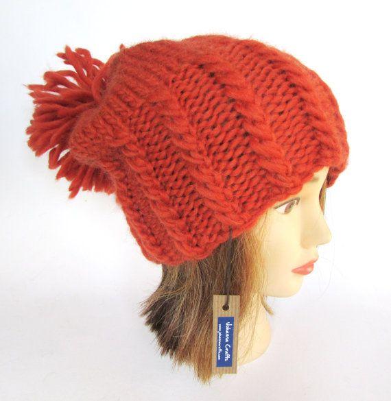 30decfcb7278a Burnt orange large pom pom hat slouch hat chunky knit hat warm winter hat  fun hat with big pompom fu