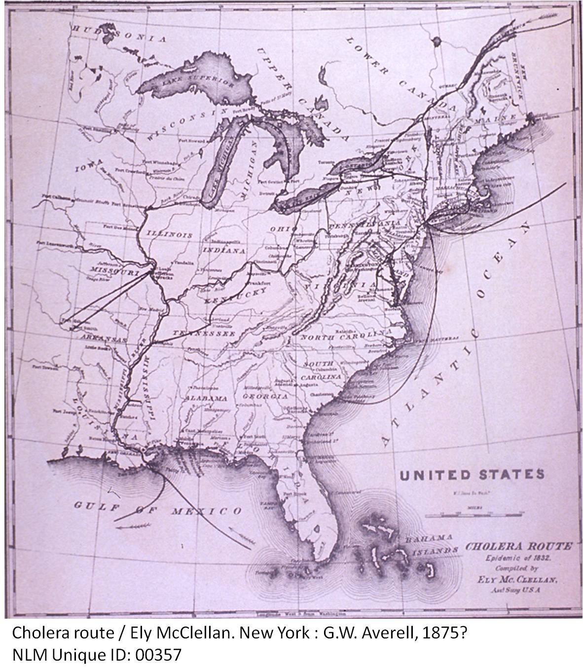 Ely McClellans map of the US cholera epidemic in 1832 Drawn up