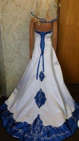 Wedding Dress With Blue Trim