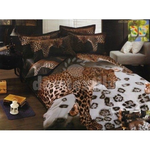 8f05c3dda Hnedé bavlnené posteľné obliečky s motívom geparda | Posteľné ...