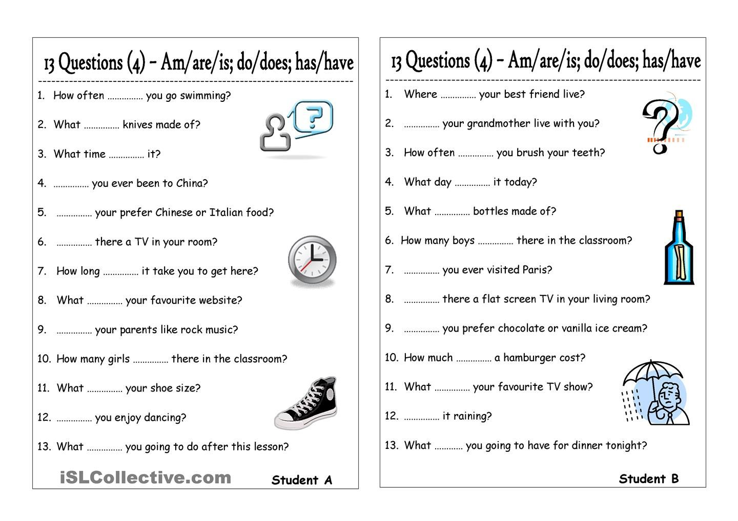 13 Questions 4 Am Are Is Do Does Have Has Pair Work This Or That Questions Subject And Verb Learn English [ 1018 x 1440 Pixel ]