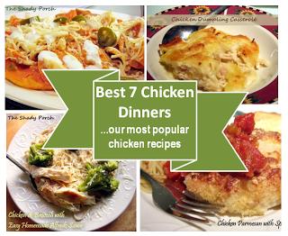 Best 7 Chicken Dinners...our most popular chicken recipes - Chicken Dumpling Casserole, One Dish Dinner - Chicken, Potatoes and Green Beans, Chicken Noodle Soup...Healthy Comfort Food, Crunchy Garlic Chicken, Chicken Parmesan with Spaghetti, Chicken Alfredo and Broccoli, Chicken Chilaquiles...better than nachos! #chicken #recipes