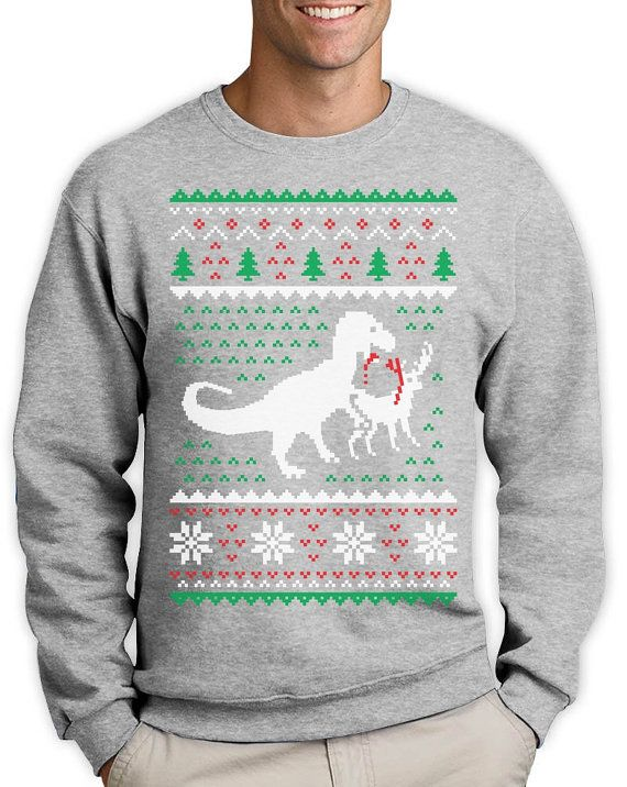 T Rex Vs Reindeer Ugly Christmas Sweater Men Funny Sweatshirt