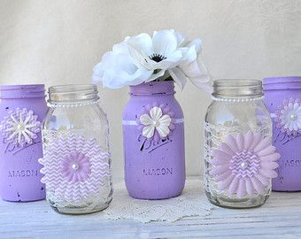 Mason Jars Have Been A Huge Trend For A Few Years, But Theyre Not Going  Anywhere Any Time Soon! The Ivory Paint Creates A Unique And Special Touch  To