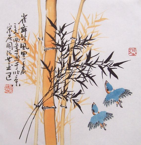 Chinese Bamboo Painting Oriental Art Original Painting Lovely