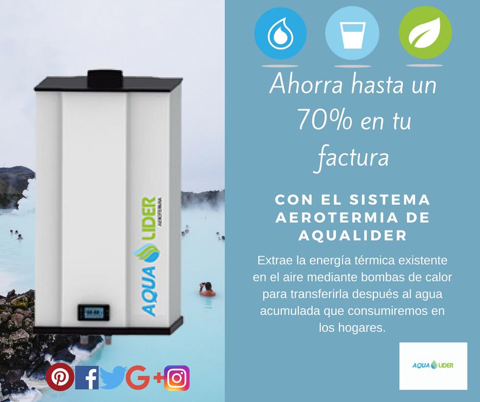 ¡Consigue agua caliente calentando aire! Encima ahorrarás hasta un 70% de tu factura ;)