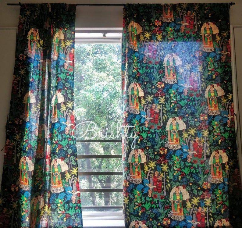 Frida Kahlo Black Boho Curtains Two Panels Eclectic Boho Etsy