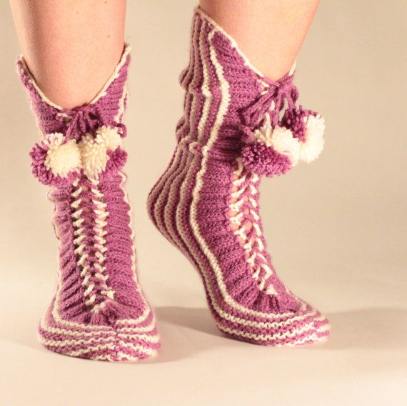 Hand Knit Bulgarian Wool Slipper Warm Soft by BlocSocks on Etsy