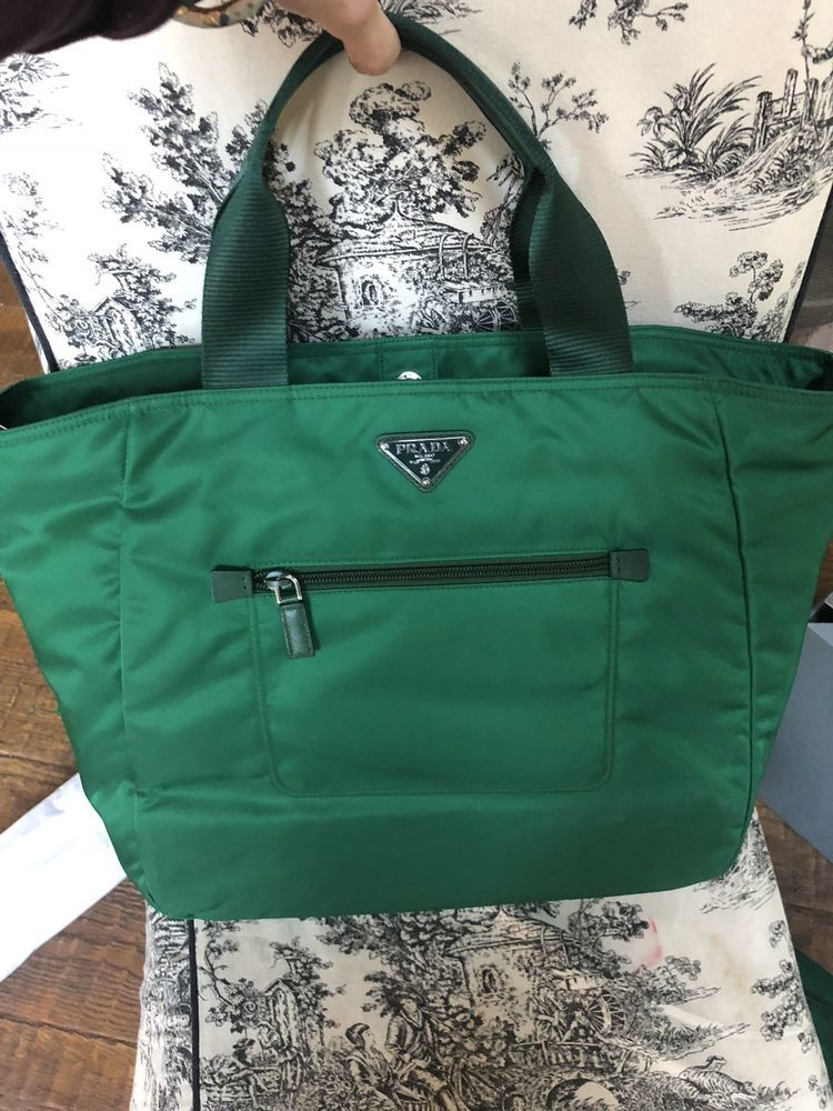 3455dc6d2a57 Prada Tessuto Nylon Green Shopping Tote Oleandro Large Bag #prada #money  #shoulderbag #bags #wearing